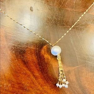 """14K YELLOW GOLD (solid)  white PEARL 18"""" TASSEL"""